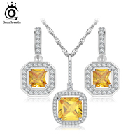 2016 New Arrival Women S Yellow Cubic Zirconia Jewelry Set For Wedding OS74