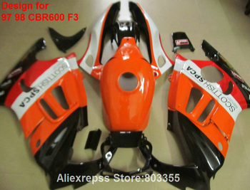 design sticker for HONDACBR 600 F3 1998 1997 97 98 Fairings ( Orange ) cbr 600 fairing kit +7gifts xl94