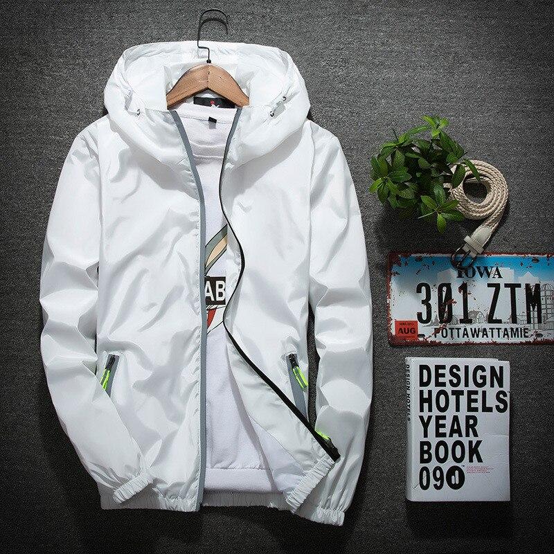 Мужская Светоотражающая куртка на молнии, 6XL 7XL, осенняя уличная ветровка с капюшоном, 2019