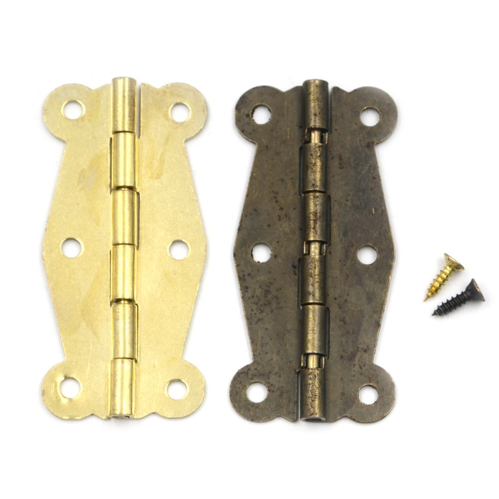 10pcs 52*25mm 180 Degrees Mix 2 colors Butterfly Iron Hinges Cabinet Drawer Door with Screw 10pcs gold mini butterfly door hinges cabinet drawer jewellery box hinge furniture hinge s diy hardware tools mayitr