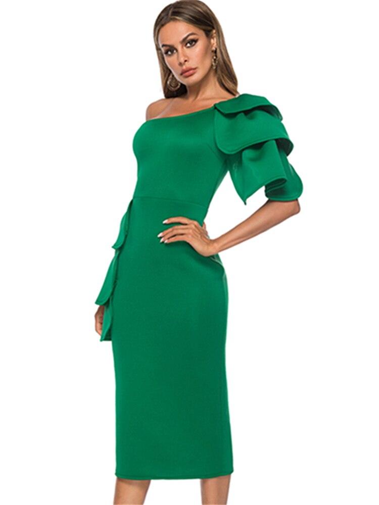 Женское платье на одно плечо с открытой спиной Зеленый с оборками миди пикантные женские праздновать Клубные вечерние тонкий туники Femme хал...