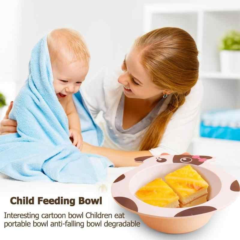 เด็กไม้ไผ่ชามน่ารักการ์ตูนสัตว์อาหารเด็กชุดอาหารเด็กทารกเด็กวัยหัดเดินเด็กธรรมชาติแบบพกพาแผ่น