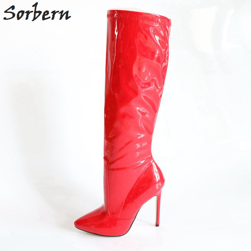 Sorbern Custom Wide Leg Women Boots Knee High Heels Stilettos Pointed Toe Ladies Boot Large Size Womens Shoes Size 43 Girls Shoe sorbern fashion shiny pink women boots metal stilettos heels pointed toe shoes ladies custom leg size thigh high boots shoes