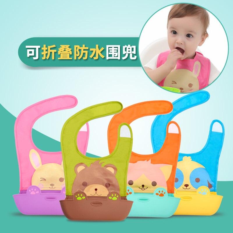 Sallei Baby Bibs Large Child Three Dimensional Silica Gel Waterproof Bib Rice Pocket Bib