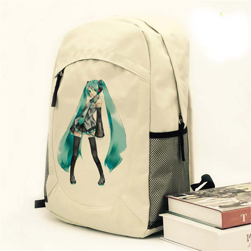 Fashion High Quality Hatsune Miku Backpack Anime Vocaloid Canvas Laptop Student School Bag Free Shipping 030403 mllse anime hatsune miku vocaloid smart sun glasses bluetooth 4 1 stereo music wearable devices sport headset for phone mp3 mp4