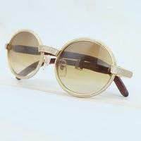 Rhinestone Oval Wood Man Sunglasses Men Vintage Wooden Carter Sun Glasses Brand Name Vocation Accessories Retro Sunglass Women