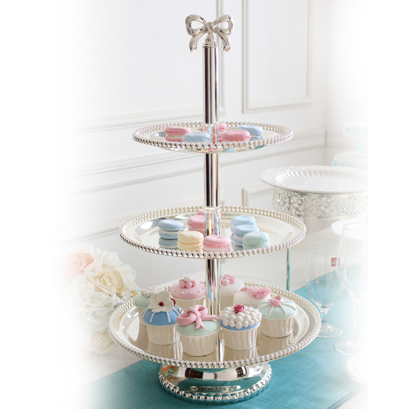 luxury 2 3 plates square silver metal cake stand cake decorating tool silver cake rack for