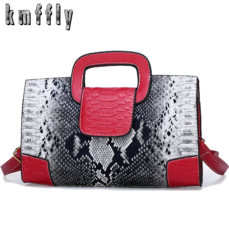 Hot Fashion Women Handbag Snake Pattern Leather Ladies Shoulder Messenger Bag Brand Luxury Women Crossbody Bag Tote For Lady