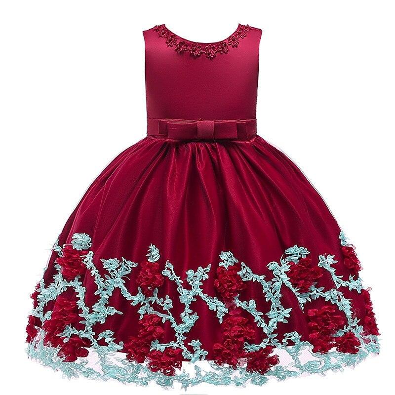 19e2dc24d 2019 nuevo de las niñas 3D flor pétalo perla princesa Tutu fiesta de niños  vestido de niña princesa vestido de niña vestido de flores