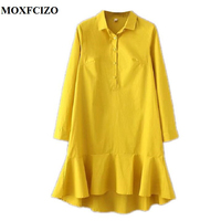 MOXFCIZO Dress Women Solid Ruffles Mermaid Dress Pleated Turn Down Collar Long Sleeve Yellow White Women