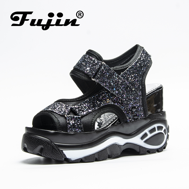 Fujin Brand Sandals Women 39 s Leisure Platform Sandals New 2019 Fashion Cutout Thick Heels Wedges Summer open toe Shoes Woman in High Heels from Shoes