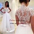 Romantic 2016 Vestidos De Novia Cap Sleeve A-line Wedding Dresses White Appliques Sexy Sheer Back Bridal Gown AR2061