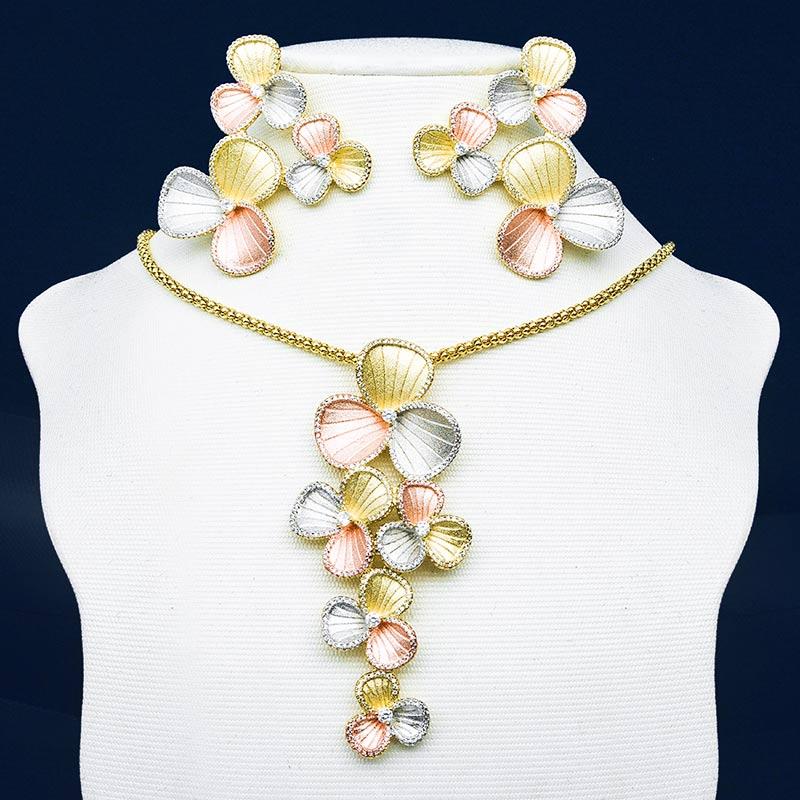 ModemAngel Luxury Flowers Super 3Tone Copper Pendant Necklace Earring Set Wedding Engagement Bridal Party Fashion Jewelry
