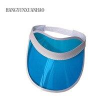 Summer Unisex Women Men Sun Hat Candy Color Transparent Empty Top Plastic PVC Sunshade Visor Caps Bicycle Sunhat wholesale