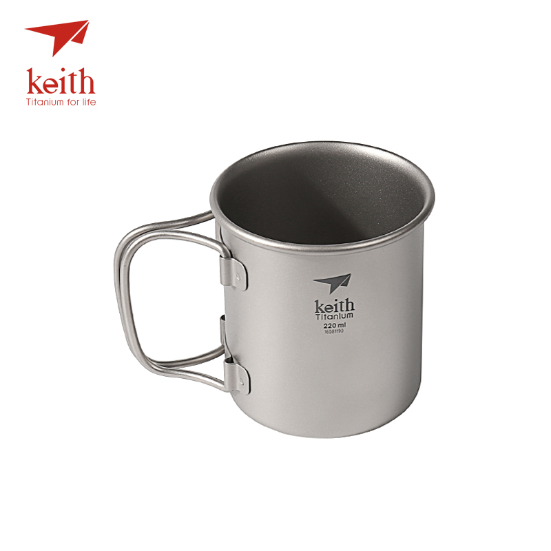 Keith Titanium Folding Water Mugs Drinkware Outdoor Camping Cups No Lid Ultralight Portable Outdoor Travel Mug 40g 220ml keith pure titanium double wall water mugs with folding handles drinkware outdoor camping cups ultralight travel mug 450ml 600ml