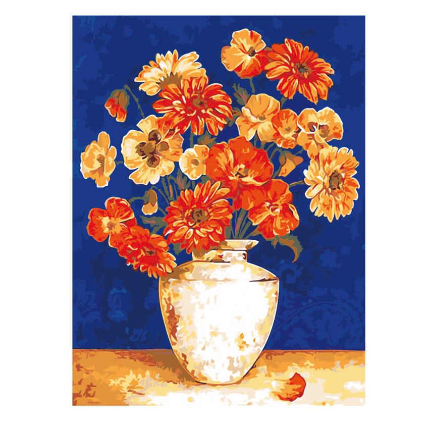 Diy Oil Painting By Numbers Flower,Nordic,Wall Painting,Diy