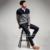 Invierno Moda Hombre Sweaters Patchwork Caqui de Punto Botón de Punto Prendas de Punto Jerseys Ropa de Marca Ropa de Hombre