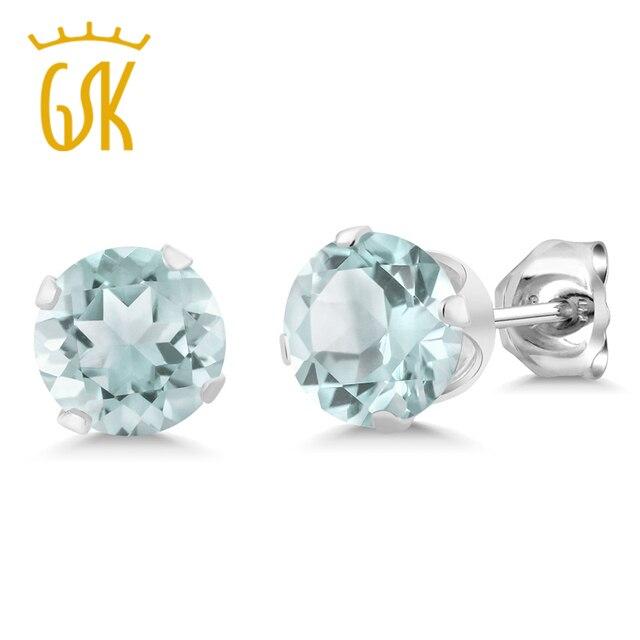 GemStoneKing Women's 925 Sterling Silver Earrings December Birthstone 5mm Natural Sky Blue Topaz Round  Stud Earrings