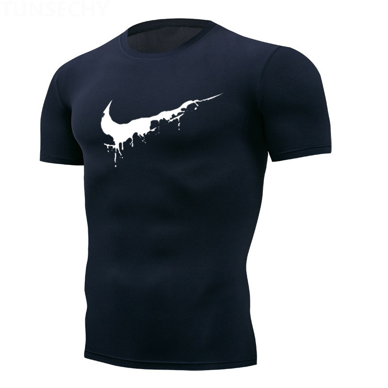 2019 Men's T-shirts Quick Dry Tight Fitness Running T Shirts Men Brand Short Sleeve Gym Sport Compression Shirt Men's Sportswear