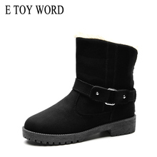 E TOY WORD Boots Size 41 Winter Warm Snow Ankle Boots Buckle Match Solid Martin boots Shoes High Quality Hot Sale Women Boots недорго, оригинальная цена