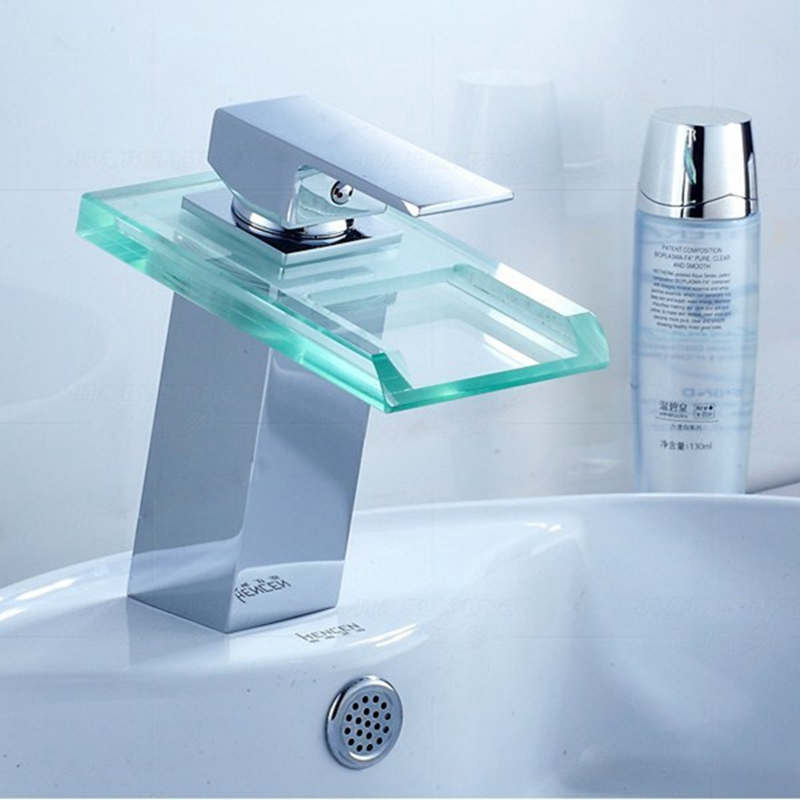 led cambia vetro finitura ottone cascata singola maniglia bagno vasca da bagno lavabo rubinetto del bacino