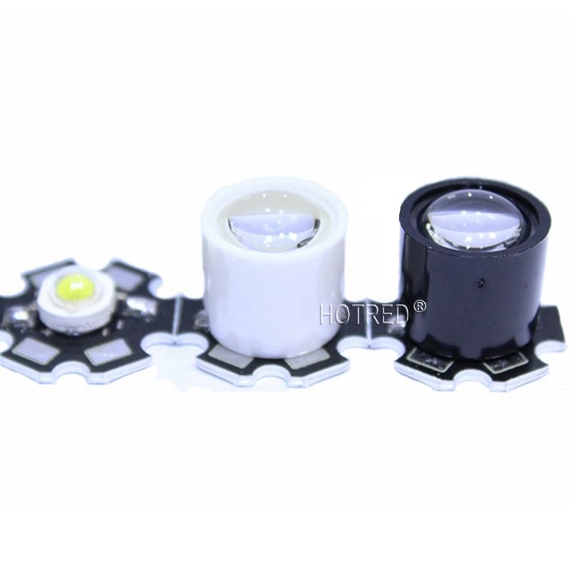 20pcs 100pcs Black White 10 Degree LED LENS Focus Reflector Collimator 14.5mm For 1W 3W 5W High Power Star LED Light 1w 10 led 70lm white bendable usb light translucent white black