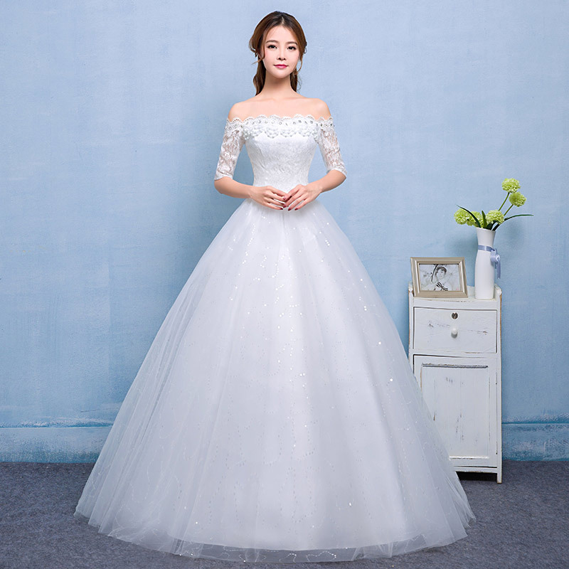 Inofinn Gorgeous Ball Gown Wedding Dress With Lace Vestido De Novia Princesa Vintage Wedding Dresses Real Image Bridal Gown 2019