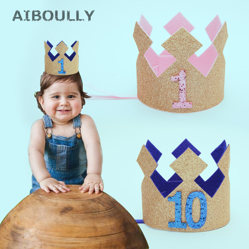 Baby Girl First 1st Birthday Party Hat Gold Priness Crown 1-5 Year Old Glitter Hair Accessory Princess Hairband Baby Shower