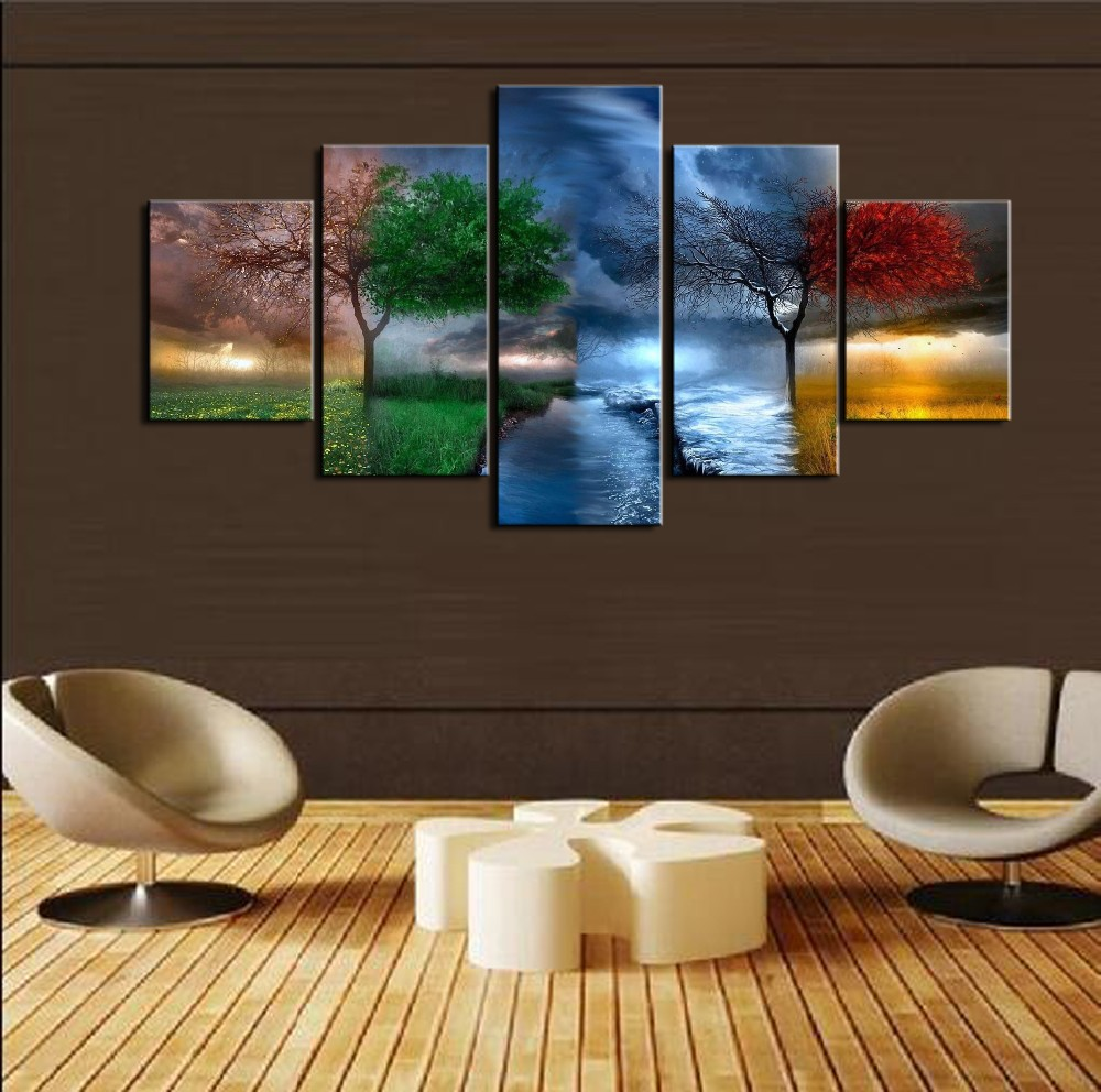 5 Pieces 4 Season Trees Abstract Paintings HD Prints Poster Wall Art Canvas Landscape Modular Pictures Living Room Decor  wall art 4 seasons   Four Seasons Tree Craft With Template – paper crafts ideas 5 Pieces font b 4 b font font b Season b font Trees Abstract Paintings HD