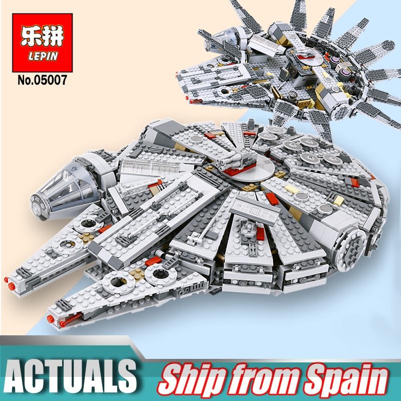Chaude Lepin 05007 Étoiles Série Force Éveille Du Millénaire Bâtiment Falcon Blocs Compatible Avec légèreté 75105 Enfants Lepin Guerres jouets