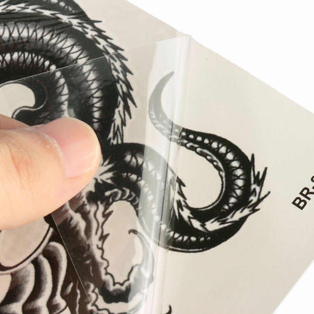3D dragón negro temporario removible resistente al agua del tatuaje brazo pierna adhesivo decorativo para el cuerpo falso temporal sensacional tatuajes