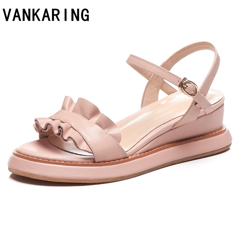 VANKARING new designer genuine leather wedge sandals roman sandals high quality wedges high heel peep-toe platform sandals womanVANKARING new designer genuine leather wedge sandals roman sandals high quality wedges high heel peep-toe platform sandals woman