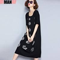 Plus Size Women Dress Summer Polka Dot Hole Print Tee Dress Female Big Size Loose Cotton