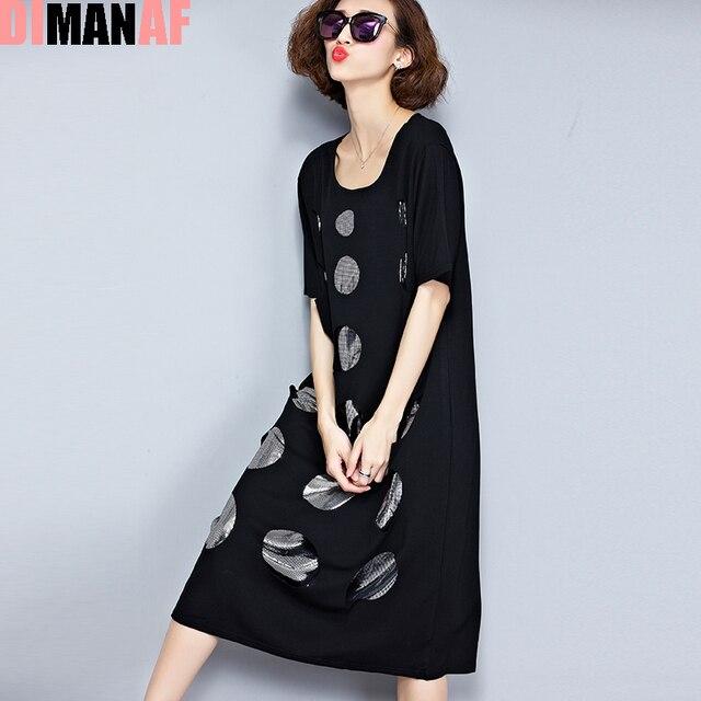 Плюс размер женское платье Лето в горошек отверстие для печати платье-майка женский большой размер свободные хлопковые футболки Мода o-образным вырезом Черный новое платье