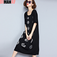 Plus Size Women Dress Summer Polka Dot Hole Print Tee Dress Female Big Size Loose Cotton T Shirt Fashion O Neck Black New Dress