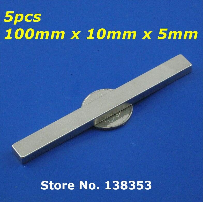 5pcs Bulk Super Strong Neodymium Rectangle Block Magnets 100mm x 10mm x 5mm N35 Rare Earth NdFeB Rectangular Cuboid Magnet