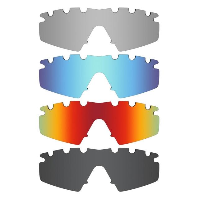 Mry 4paires polarisées Lentilles de remplacement pour Oakley Badman Sunglasses-stealth Noir/rouge Feu/ICE Bleu/argent Titane xY2pl1Efci
