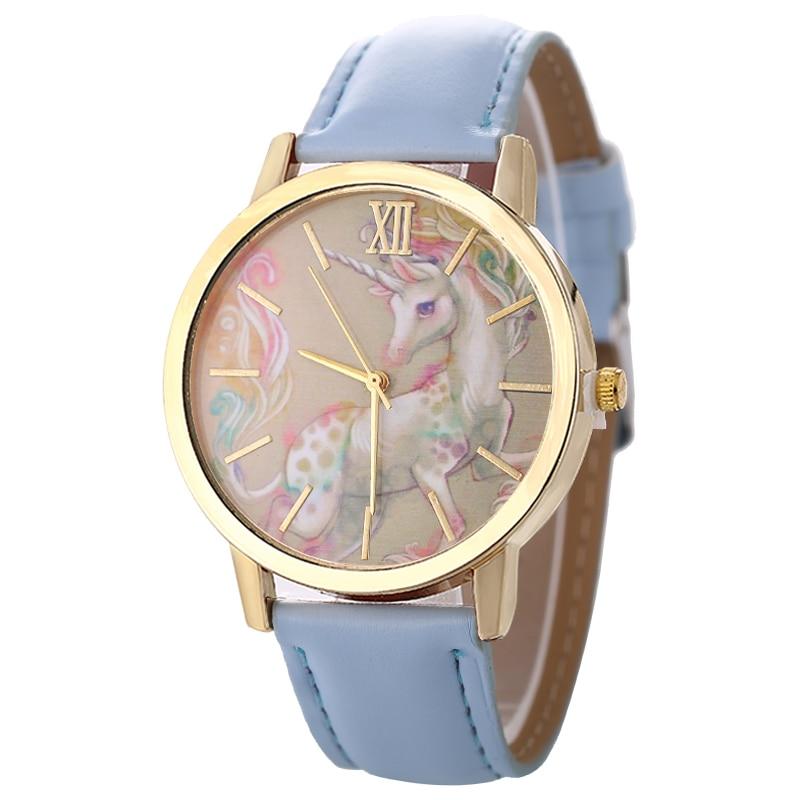 New Latest Quartz Ladies Analog Casual Wrist Watches Unisex Girls Boys Leather Round Dial Watches Fashion Cute Unicorn Student