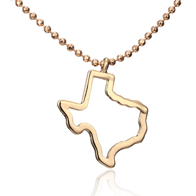 Gold color us texas state map pendant necklace america state hollow gold color us texas state map pendant necklace america state hollow necklace jewelry for women men aloadofball Gallery