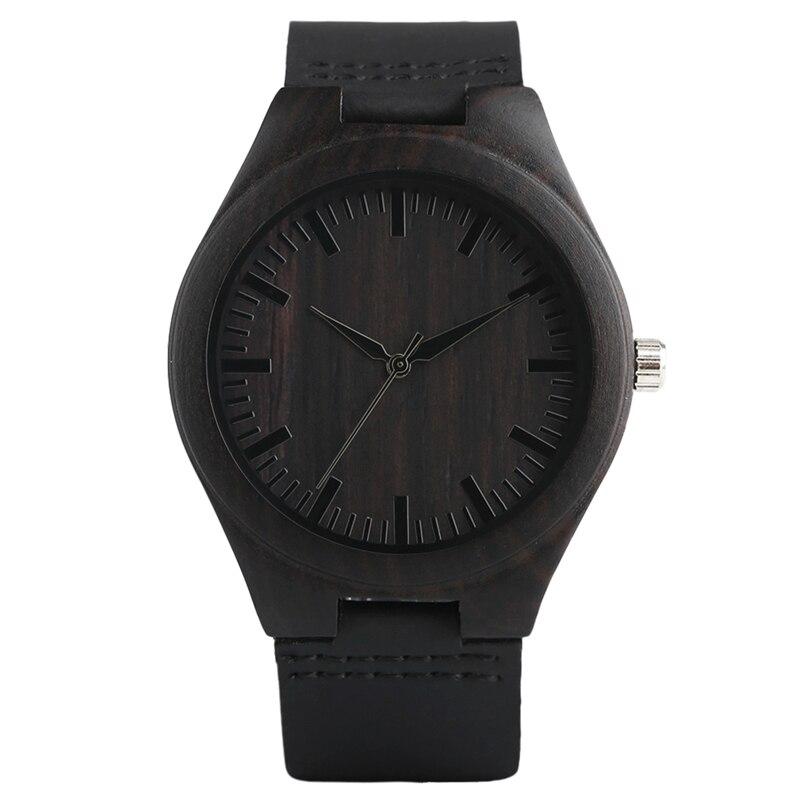 Montre en bois et cuir style horloge