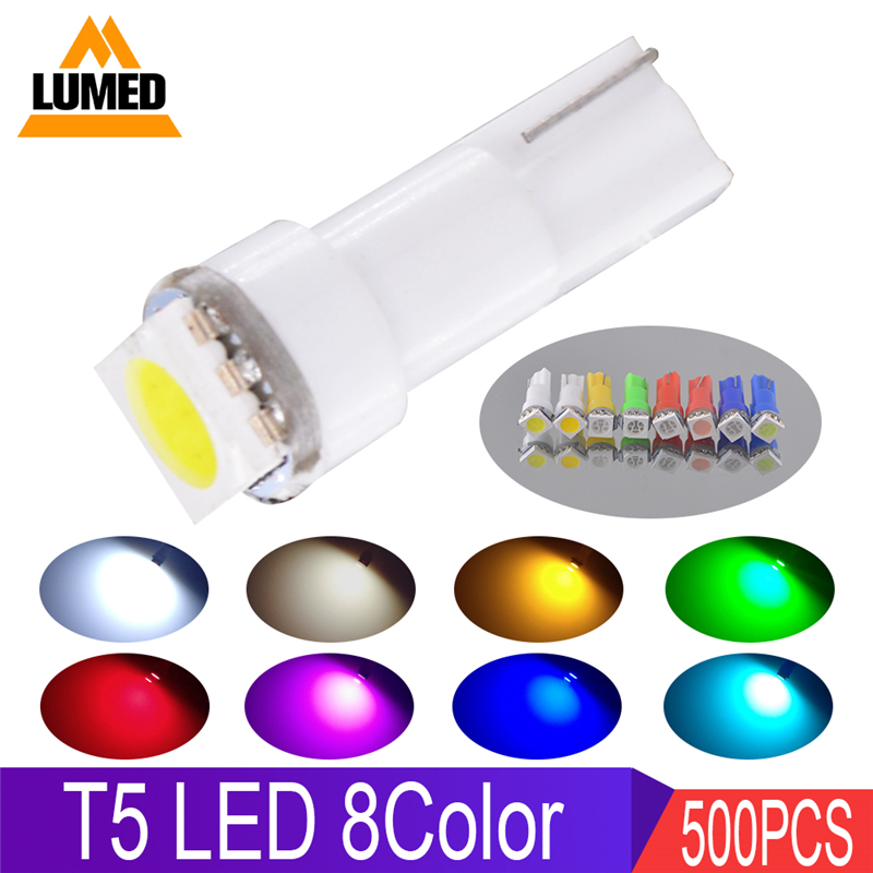 500 x T5 LED 12516 W1 2W Car Interior Lamp 5050 SMD Gauge Instrument Auto Bulb
