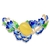 2017 NEW Blue Peony Enamel 925 Sterling Silver Genuine Yellow Chalcedony Pendant
