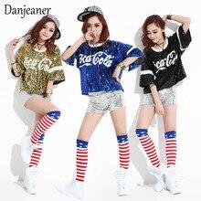 Danjeer nueva canción femenina rendimiento jazz dance ropa hip hop street  dance club nocturno DS show disfraz cola lentejuelas c. 546a622aaf2