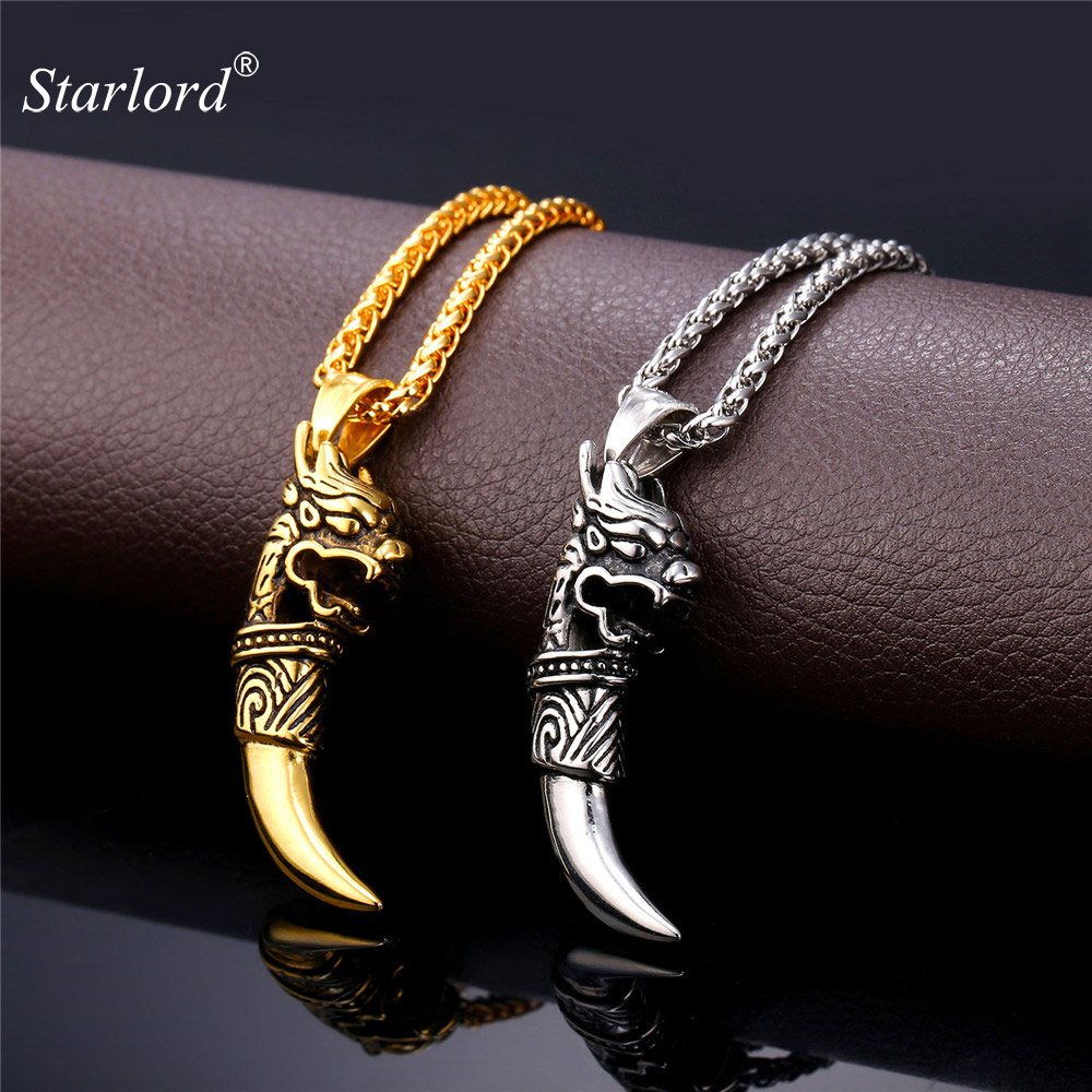Stainless Steel Retro Silver Dragon Head /& Wolf Teeth Charm Necklace Chain