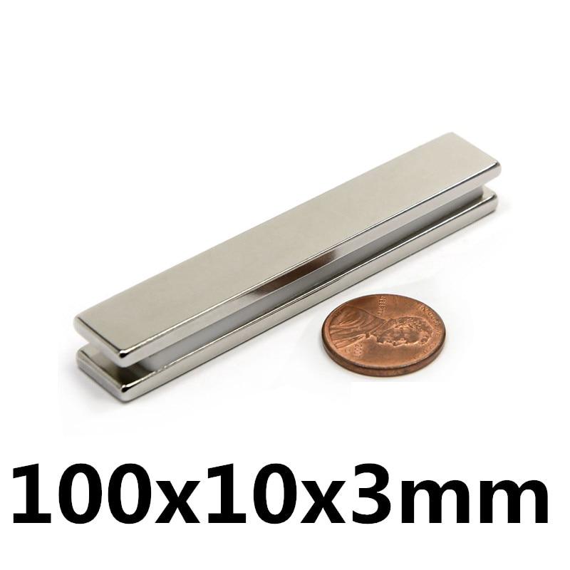 1pcs 100x10x3mm Square Block Long Bar Super Strong Magnet Rare Earth Neodymium Permanent Magnets N35 Powerful