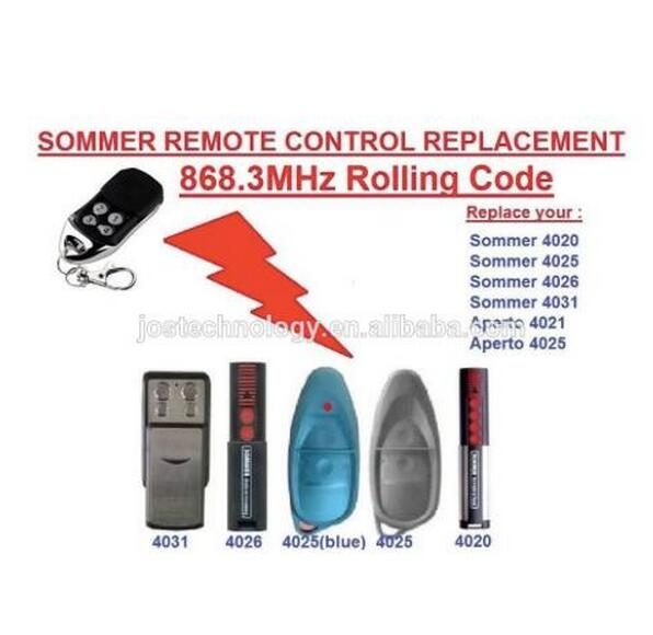 2pcs Sommer 4020 4025 4026 4031 4035 garage door compatible remote control 868.3MHZ roll ...