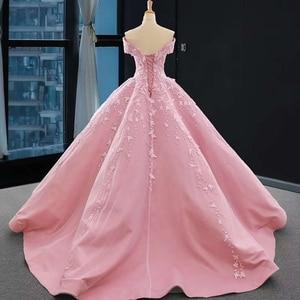 Image 4 - J66590 jancember אפליקציות ורוד מתוקה Quinceanera שמלות 2020 כבוי כתף כדור שמלות קצר שרוול