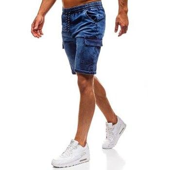 Men Jeans Shorts Ripped Stretch Slim Fit Trendy Denim Short Streetwear Distressed Frayed Male Biker Moto Jeans HOMMES shorts фото