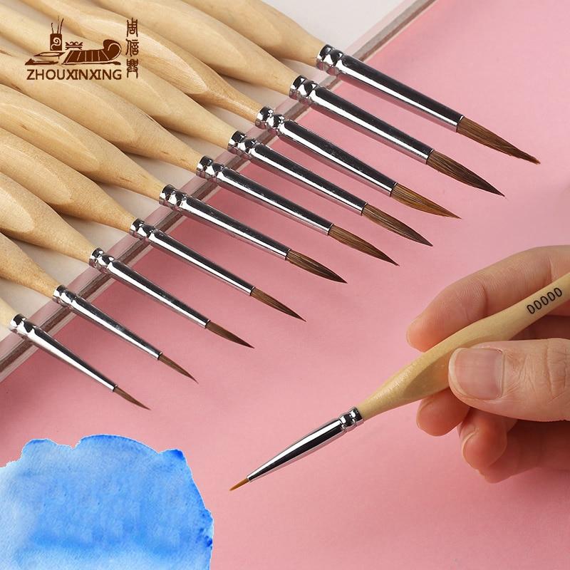 1 PC Watercolor Hook Line Pen Gouache Soft Weasel Hair Outline Painting Brush Hand-painted Propylene Miniature Detail Detail Art