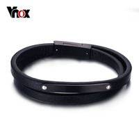 Vnox High Quality Real Leather Bracelet Bangle Black Stainless Steel Double Wrap Hand Jewelry for Women